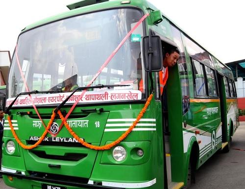 Sajha Bus begins night service in Kathmandu Valley