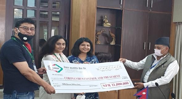 नेपाल बंगलादेश बैँकको कोरोना नियन्त्रण कोषमा एक करोड ४५ लाखको सहयोग