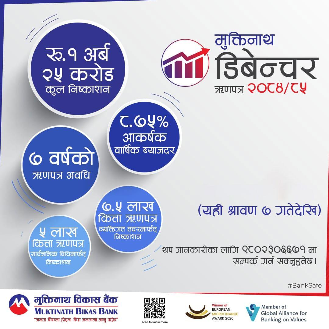 मुक्तिनाथ विकास बैंकको ऋणपत्रमा आजदेखि आवेदन दिन सकिने