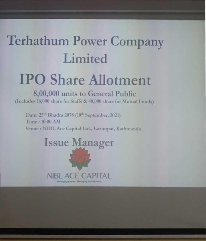 तेह्रथुम पावरको आईपीओ बाँडफाँट, ७४ हजार ४०० जनाले पाए १० कित्ता शेयर