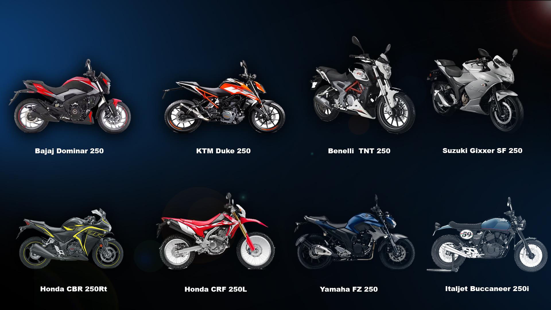यस्ता छन् २५० सीसी सेग्मेन्टका लोकप्रिय मोटरसाइकल, कुनको मूल्य कति ?